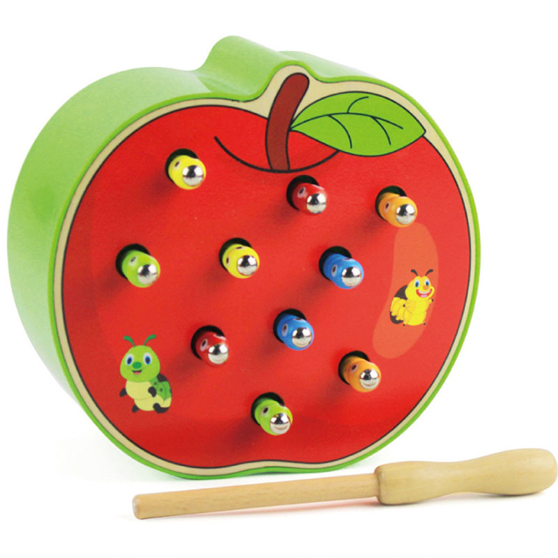 Caterpillar Eats The Apple Montessori Wooden Kids Toys Baby Memory Training Matching Pair Game Math Early Education Interactive montessori education wooden toys four color game color matching early child kids education learning toys building blocks