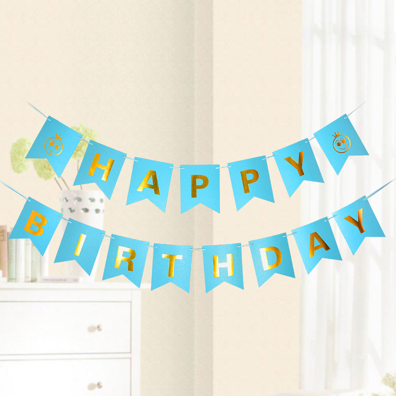 4M Bronzing Fishtail Bunting Banner Flag Happy Birthday Party Decoration Banner Happy Garland Flag Bunting Baby Shower Banner