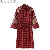 Future Time Women Plaid Kimono Shirts Vintage Red Flower Embroidery Jackets Female Open Stitch Cardigan Ladies
