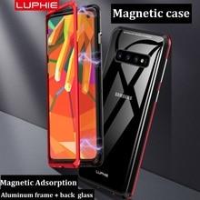 Из Металла Алюминий Магнитный Адсорбция дело для samsung Galaxy S10 S8 S9 Плюс Прозрачный Закаленное Стекло задняя крышка случаях fundas