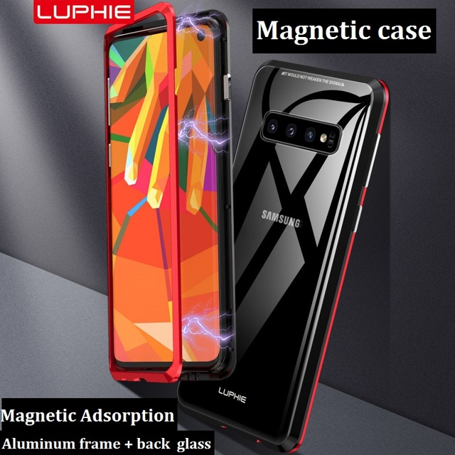 Metal Aluminum Magnetic Adsorption Case For Samsung Galaxy S10 S8 S9 Plus Transparent Tempered Glass Back