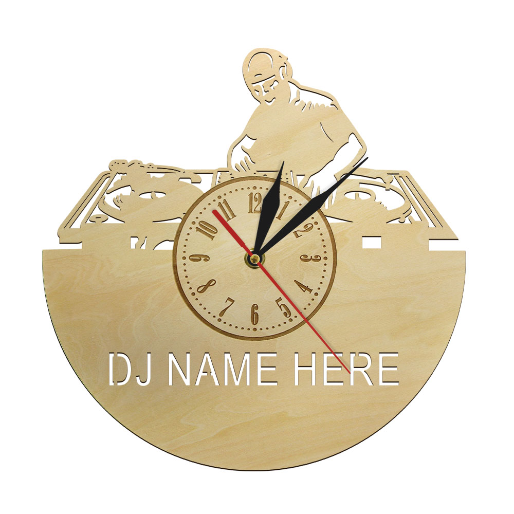 Creative Custom DJ Name Music Wall Clock Wood Non-ticking Art Watch Unique Rock N Roll Musician Birthday Gift Idea