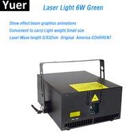 Чемодан упаковка 6 W зеленый лазерный луч света графика анимации оригинальный COHRRENT лазерный диод DMX512 для диско бар свет этапа
