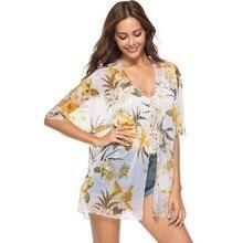 цена на 2019 Summer Casual Vintage Kimono Cardigan Ladies Beachwear Chiffon Kimono Women Loose Floral Printed Blouse Tops Thin
