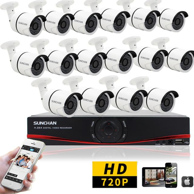 SunChan HD 1080N 16CH CCTV Segurança AHD Kits DVR HVR NVR 16 pcs 720 P Impermeável Ao Ar Livre Câmera de Segurança Em Casa Sistema de vigilância