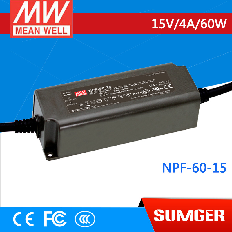 1MEAN WELL original NPF-60-15 15V 4A meanwell NPF-60 15V 60W Single Output LED Switching Power Supply [freeshipping 1pcs] mean well original rs 25 15 15v 1 7a meanwell rs 25 25 5w single output switching power supply
