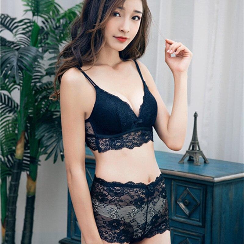 New sexy lady push up cute gather beauty back lace ladies no rims   bra     set