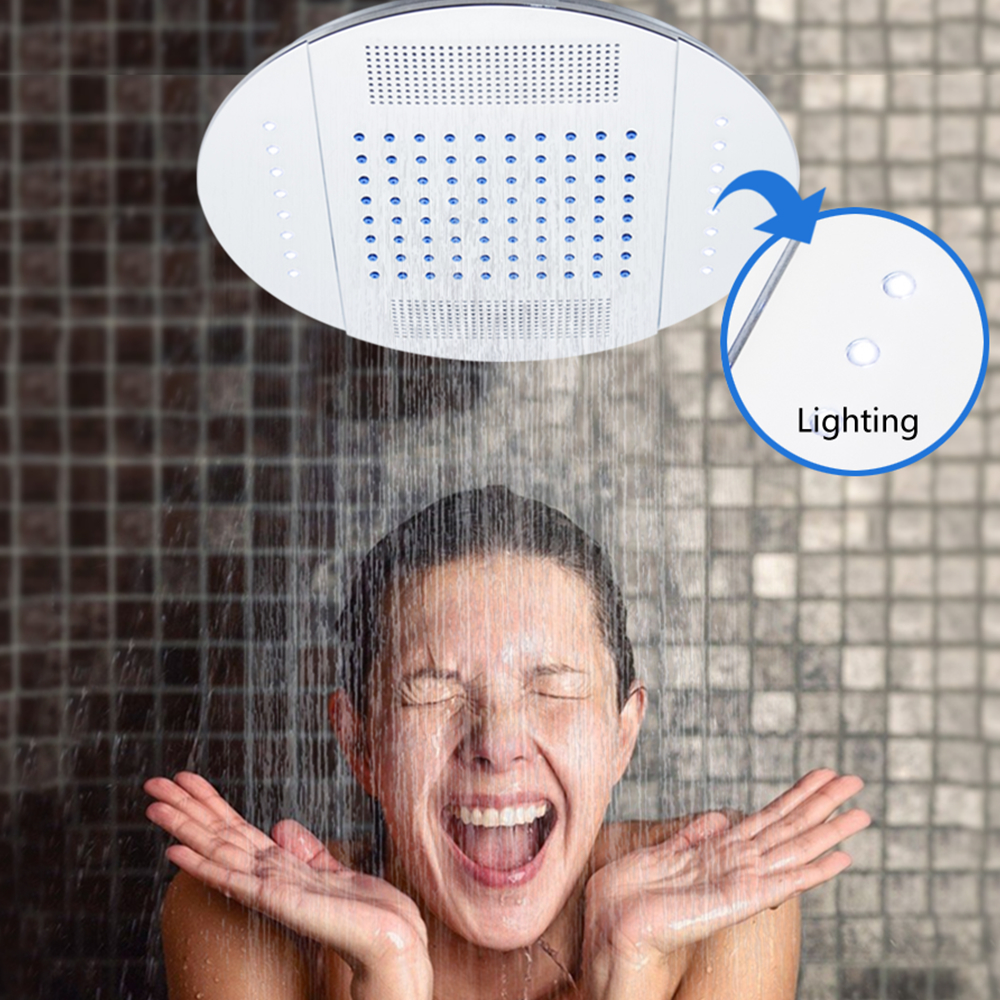 Vagsure 1Pcs 25cm 12V LED Light Rainfall Ceiling Overhead Roof Top Water Saving Shower Head Spout Shower Cabin Room Accessories new design bath electric led ceiling recessed rainfall shower head 304sus bathroom accessories douche overhead shower panel