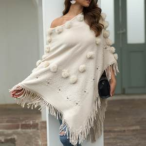 Sweater Coat Shawl Cardigan Knitted Women Tassel O-Neck Cloak Solid Loose Hairball