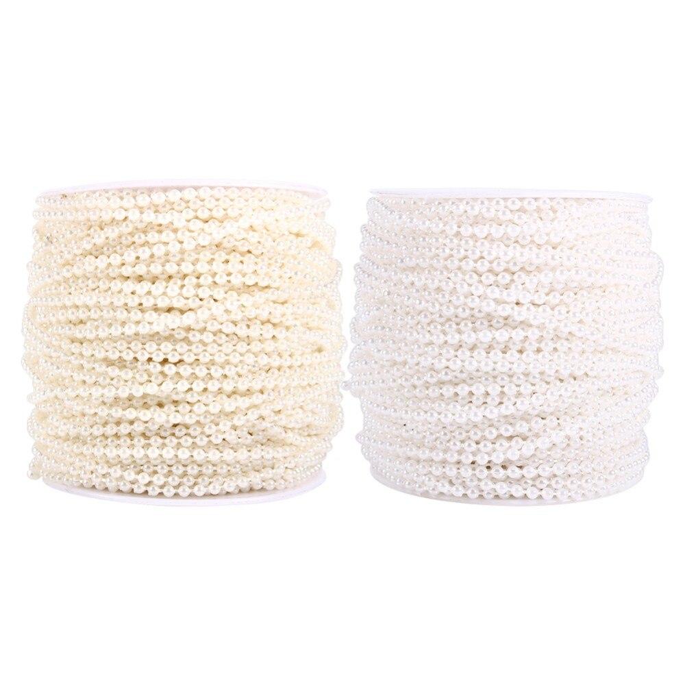 Beads Perlen String 3mm Plastik Hochzeit Braut Dekor DIY Handwerk Neu Weiß Beige