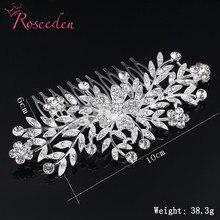 Flossy Crystal  wedding Hair comb Hairpieces  rhinestone floral  bride hair accessory kids Girls Headwear RE876 цена 2017