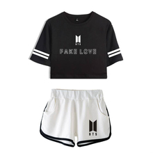 9b00a1957ba Womens Summer BTS Suits FAKE LOVE YOURSELF Short Set Women Short T Shirts  Ladies Casual Short