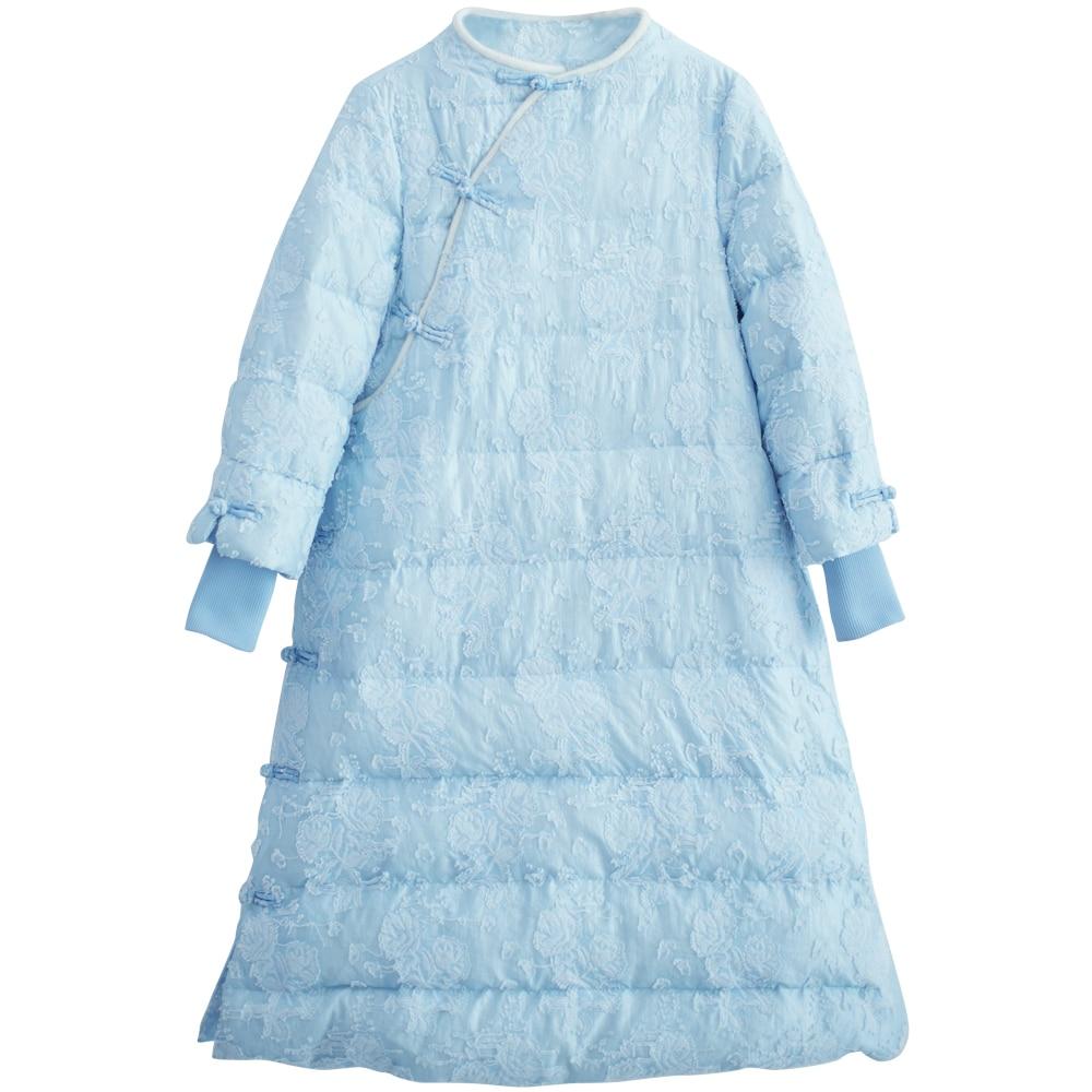 2017 Arrivée Bleu Mm219 Manteau Vintage De Blanc Duvet Femmes Style Nouvelle Brodé D'hiver Canard Long Veste Chinois Organza x1xgHwEq
