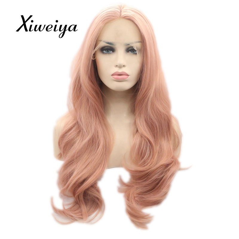 Xiweiya Heat resistant synthetic mix color peach red lace front wig women long wavy pink hair glueless hair replace everyday wig ...