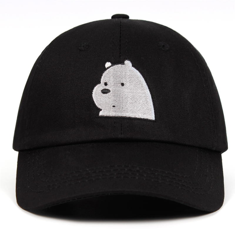 100% Cotton Ice Bear Grizzly Panda Embroidery We Bare Bears Dad Hat IceBear   Baseball     Caps   Snapbcak   Cap   Anime Polar bear Hats