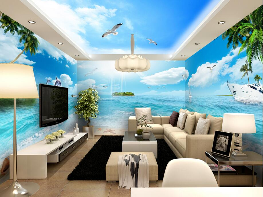3d wallpaper custom photo non-woven Blue sky backdrop beach-themed space Wall 3d wall murals wallpaper for walls 3 d painting 3d ceiling murals wallpaper custom photo non woven 3d wall murals wallpaper for living room blue sky flowers leaves painting