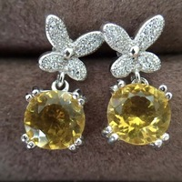 Natural color Citrine Ear Studs 925 silver rose golden Free mailing