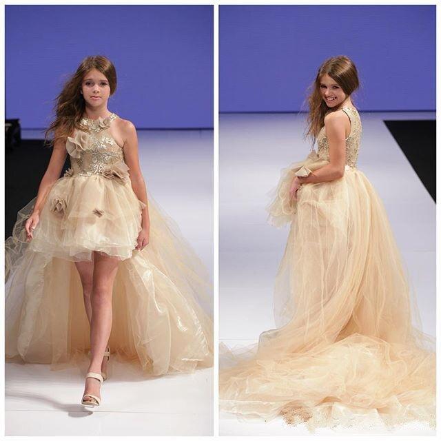 Свадебные платья цвета шампанского с цветочным узором для девочек; платья с блестками и аппликацией для особых случаев; платья для дня рожд