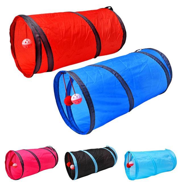 5 di colore Divertente Pet Cat Tunnel 2 Fori Gioco Tubi Palle Pieghevole Crinkle