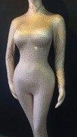 2 стиль мигающий серебряный стразы комбинезон для женщин День Рождения Праздновать роскошный наряд для ночного клуба певица танец наряд