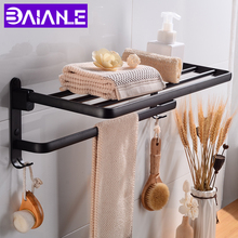 цены Black Bathroom Towel Rack Holder Foldable Aluminum Bathroom Shelves with Hooks Single Towel Bar Hanger Wall Mounted Shelf Towel