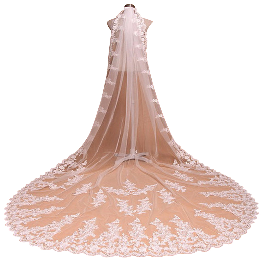 Купить с кэшбэком cathedral wedding veil voile de mariee Veu De Noiva Lace 3M Long Wedding Veils Ivory White One layers Tulle wedding accessories