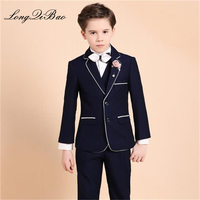 High quality 2018 new college wind children's suit big children Christmas catwalk dress boy piano suit