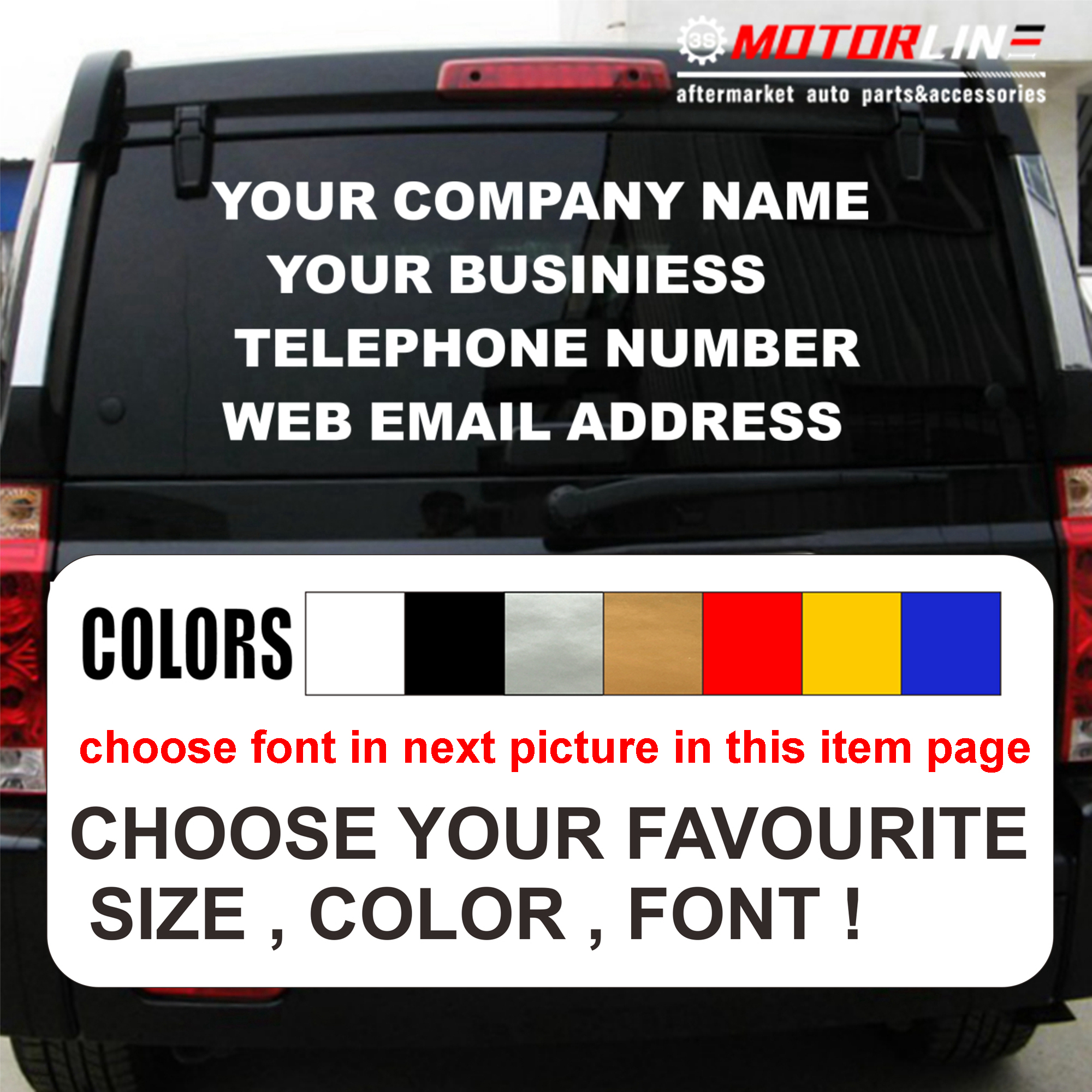 Personalised custom your text business name tele number phone website decal sticker car vinyl pick size color