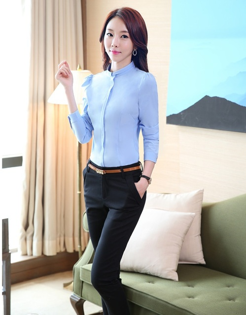 Slim Fashion New 2015 Fashion Spring Winter Female Work Wear Suits Blouse With Pants Office Ladies Uniforms Style Pantsuits