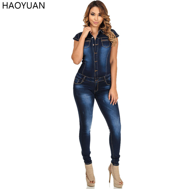 265142e7ef3 HAOYUAN Fashion Autumn Women Denim Jumpsuit Short Sleeve Bodycon Jeans  Rompers Womens Jumpsuit Casual Overalls Bodysuit