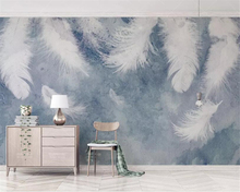 Beibehang Customized personality wallpaper Ink background hand drawn feathers small fresh nordic tv wall 3d