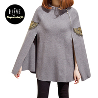 BiSHE 2017 Autumn Winter Black Gray Embroidered Bead Ponchos And Capes Pullovers Knitted Wool Sweater Women