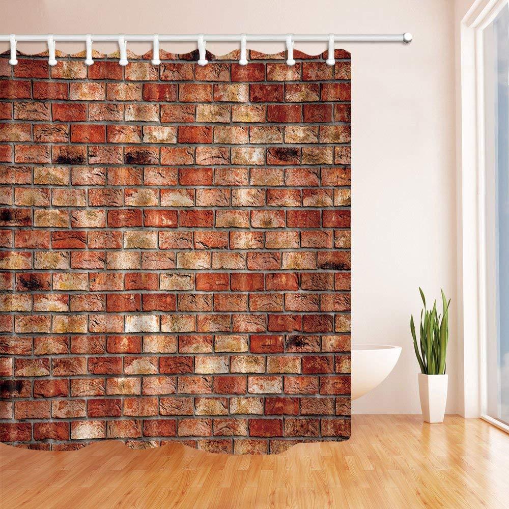 The Brick Wall Theme Waterproof Fabric Home Decor Shower Curtain Bathroom Mat