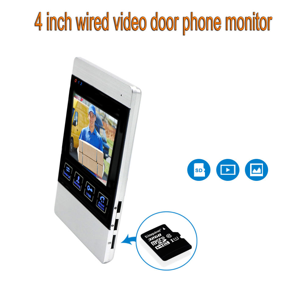 4 Inch HD Led Monitor For Video Door Intercom System Door Bell Metal Doorbell