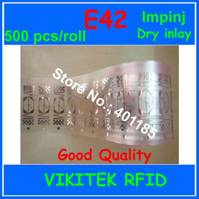 UHF RFID dry inlay Impinj E42 500pcs 860-960MHZ Monza4 915M EPC C1G2 ISO18000-6C can used to RFID tag and label цена