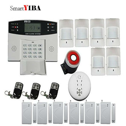 SmartYIBA LCD Press Keypad Screen Wireless GSM SMS Home and Business Security Burglar Alarm System Kit Auto Dialing Wired Siren diysecur wireless and wired gsm automatic dialing alarm system m2bx pet friendly home security