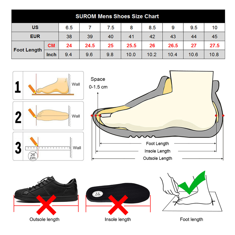 SUROM Leather Sneakers Men Shoes Casual Breathable Comfortable Walking Flats Lace Up Tenis Masculino Adulto Lightweight Fashion in Men 39 s Casual Shoes from Shoes