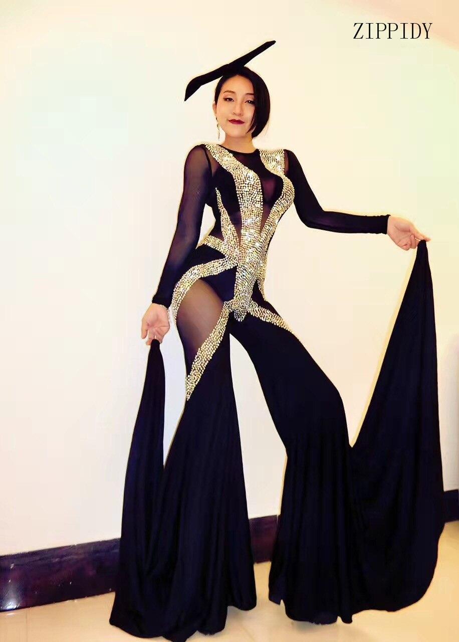 Sexy Sparkly Black Jumpsuit One piece Big Leggings Performance Bling Bodysuit Stage Wear Nightclub Shining Costume