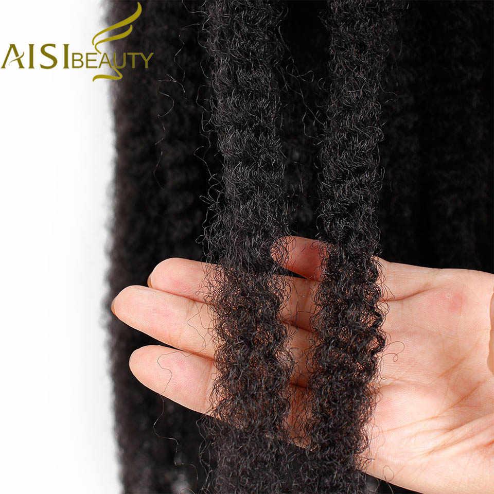 AISI BEAUTY Ombre Marley Braids Crochet Hair Synthetic Braiding Hair Crochet Braids Hair Extensions Bulk Afro Brown Black