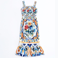 HIGH QUALITY New Fashion 2017 Designer Runway Dress Women S Summer Elegant Sleeveless Retro Bohemian Print