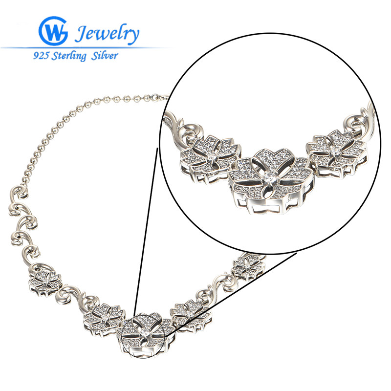 New Fashion Jewelry Vintage Ladies Flower Sterling Silver Necklaces For Women Gw Fashion Jewelry XLY010H20 брелок gw jewelry