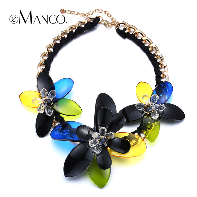 //Acrylic necklace flower jewelry// gold link chain choker short necklace new casual women summer trendy necklace eManco