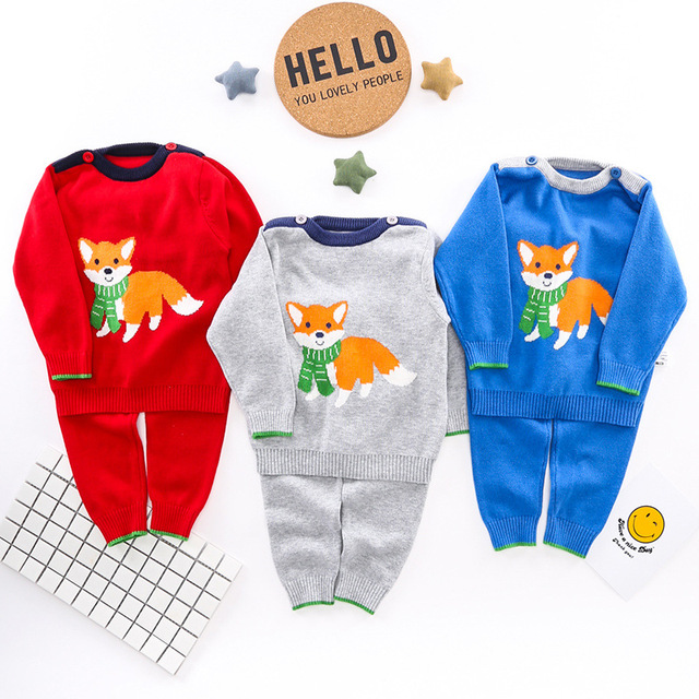 6-18moths Kids Fox Style Children Sets Sweaters Tops Pants 2017 Autumn  Winter Baby Trousers Boy Girl Cotton Knit Clothing Set 80bc4a0d028