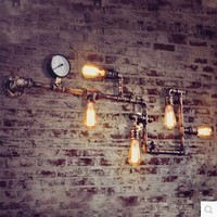 Retro Loft Style Vintage Industrial Wall Lamp Light With 5 Lights For Home Edison Wall Sconce,Pipe Lamp