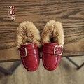 2016 de Alta calidad zapatos de cuero de los niños nueva moda de piel de conejo botas de nieve caliente de terciopelo niña bebé botas de bebé de algodón fresco zapatos