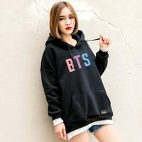 Women BTS Hoodies Harajuku Kpop BTS Letters Printed Autumn Thick Bangtan Boys Fleece Winter Hoodes Sweatshirt