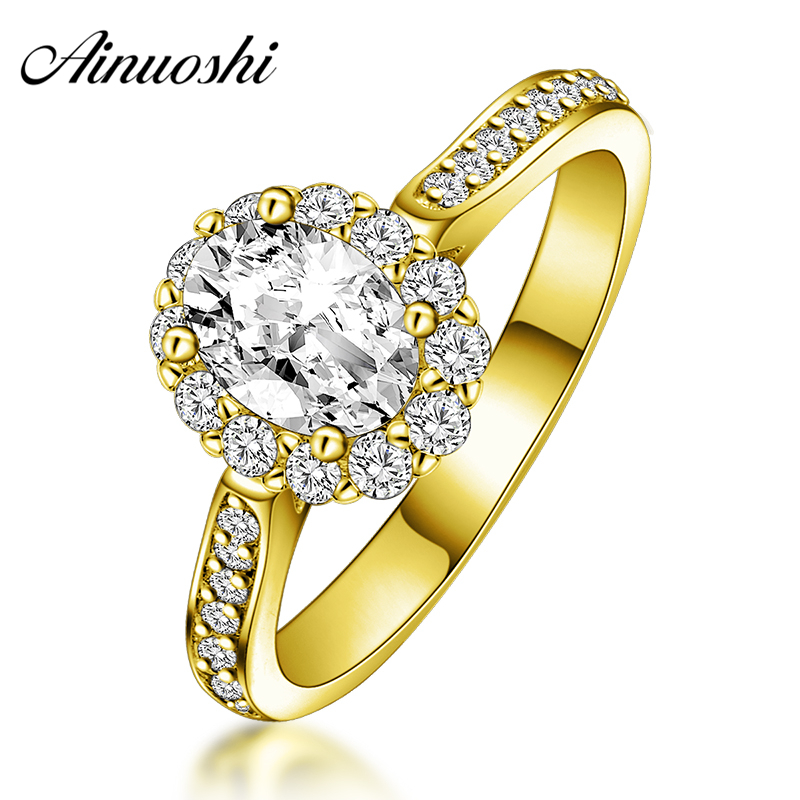 AINUOSHI 10K Solid Yellow Gold Women Engagement Ring 0.5 Carat Oval Cut Sona Simulated Diamond Halo Bague Bridal Wedding Rings ainuoshi fashion oval cut yellow gold ring 10k solid gold wedding ring lab grown diamond women engagement rings top quality band