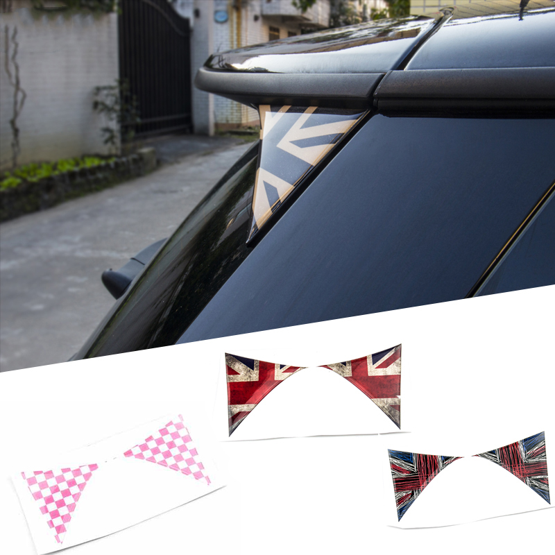 2Pcs Car Exterior Rear Back Trunk Tailfins Spoiler  Wing 3D Sticker Decal for BMW Mini Cooper F55 F56 Car Styling Accessories unpainted rear roof lip spoiler wing for bmw e87 e81 2004 2011