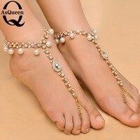 Sexy Rhinestone Barefoot Sandals Imitation Pearl Pendant Crystal Rhinestone Multilayer Anklet Wedding Beach Foot Chain Jewelry