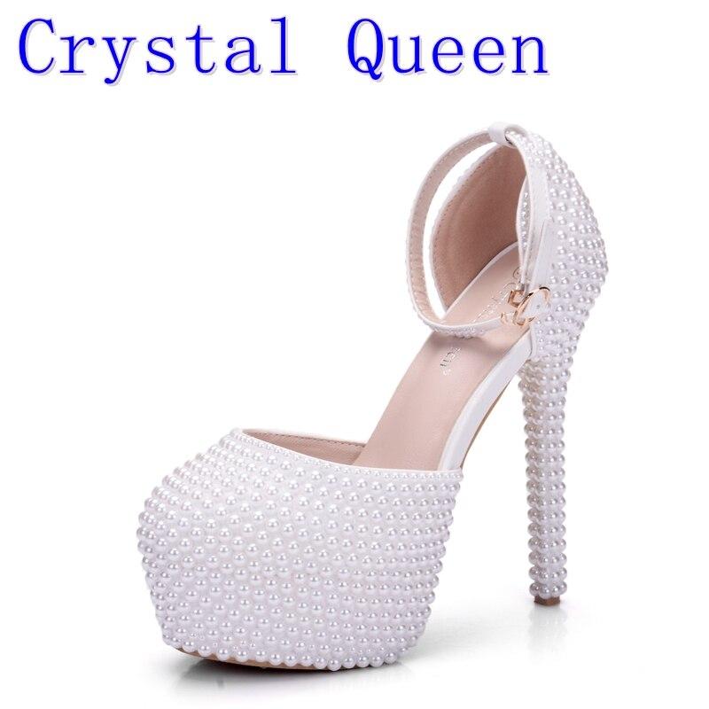 Crystal Queen New Fashion Pearl White Fashion Women's Wedding High Heel Platform Lady Sandals Gentlewomen Bridal Dress Shoes